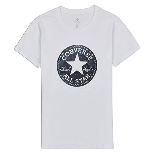 - Converse Women's Seasonal Galaxy Infill Chuck Patch Tee, White, XL