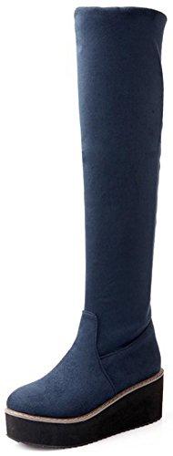 Idifu Womens Fashion Faux Suede Ronde Neus Pull Op Mid Sleehak Overknee Hoge Booties Blauw