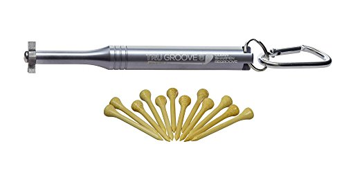 Silver TruGroove 6 Head Golf Club Groove Sharpener - Built-in Bottle Opener and 12 Free Premium Bamboo Tees Included - Improved Backspin and Ball Control - Wedges and Irons