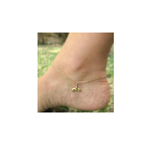 Delicate Gold Whale Tail Anklet,Cute Fish Tail Charm Ankle Bracelet,Summer Anklets