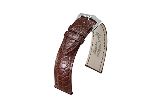 19mm Brown Padded Exotic Genuine Alligator Skin Leather Watch Bands with Round Scales Pin Buckle (Leather Band Round Photo Watch)