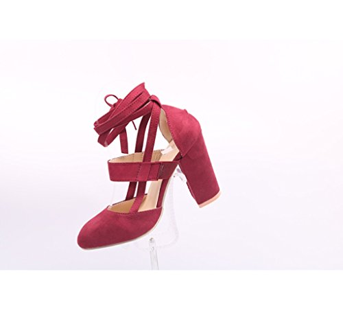 Alto Vino Ante Grueso Y Oficial Puntiagudas Mujer Comodidad Para Rojo Liangxie Sandalias De Tacón Boda Fiesta Zapatos Con Atractivas Zhhzz Suela Clásica t7wxf5Rq