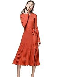 Fincati New Sweater Dresses 2018 Spring Autumn Cashmere Belt Fitted Waist Pleated Midi Dresses Plus Size Orange S