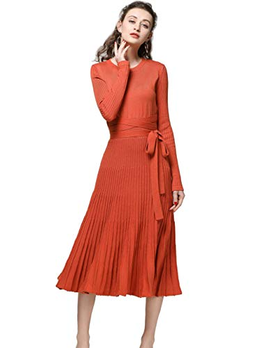FINCATI Ribbed Elbow Sweater Dress 2018 Spring Autumn Cashmere Long Sleeve Pleated Midi Dresses (Orange, M) ()