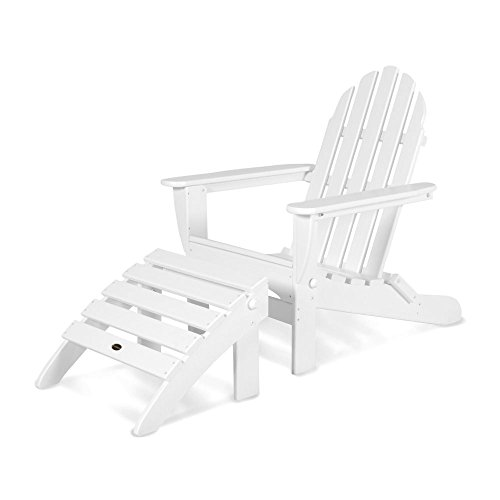 POLYWOOD PWS136-1-WH Classic 2-Piece Adirondack Chair Set, White