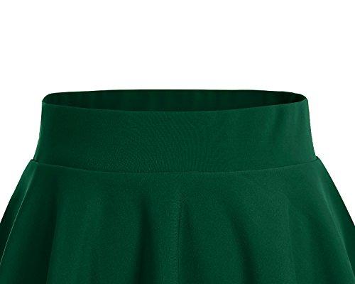 Dresstells da Elastica Gonna Mini Scuro Solida Versatile Verde Gonna Svasata Corta Gonna Pattinatrice Colore B1wZB