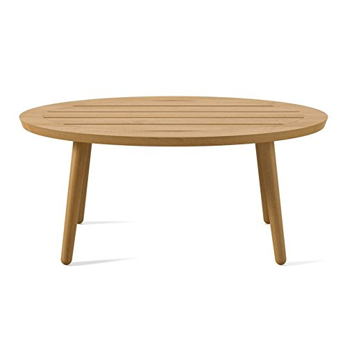 Solid Teak Wood Oval Coffee Accent Cocktail Table for Living Room, Brown + Free Ebook (Frame Plantation Teak)