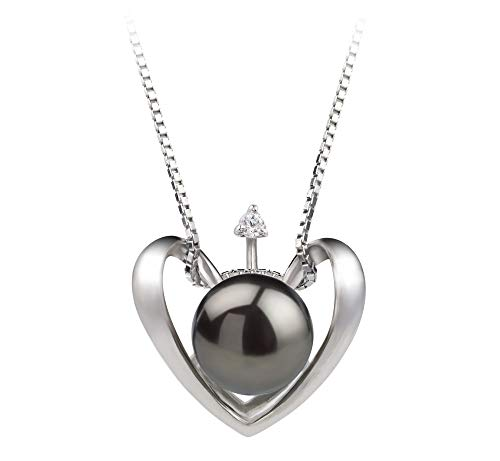 Heart Black 9-10mm AA Quality Freshwater 925 Sterling Silver Cultured Pearl Pendant For Women