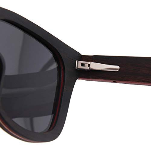 de Laminado Corcho Marco Gray UV de sol Green Brillante Polarizadas Gafas Gafas Retro Gafas Protección Madera Puro bambú Color zfE54qR
