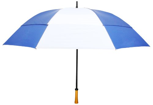 ROYAL BLUE & WHITE Windproof Up To 60 MPH Large GOLF Umbrell