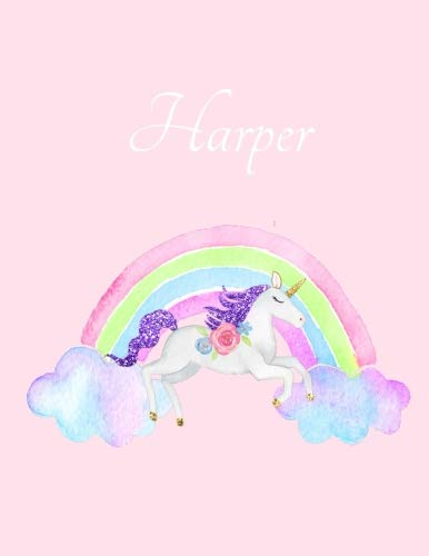 Harper: Harper's Name Personalized Cute Unicorn Pink Cover Writing Notebook 50 Wide Ruled Lined Pages 8.5