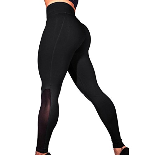 Snowfoller Sports Athletic Pants, Women High Waist Sexy Mesh Patchwork Fitness Leggings Running Gym Stretch Yoga Trousers (S, Black) ()