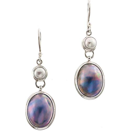 - 1 3/16'' Oval Pacific Blue MABE Pearl 925 Sterling Silver Drop Earrings YE-614