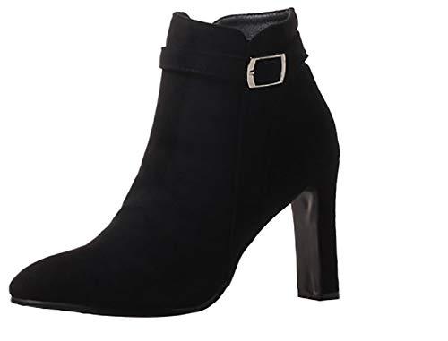 Women 9CM ankxir Calaier Black Boots Zipper Heel Block wq1c6d
