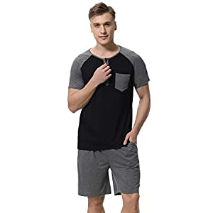 Sykooria Mens Pajamas Set Lightweight Cotton Soft Short Sleeve Sleepwear Loungewear