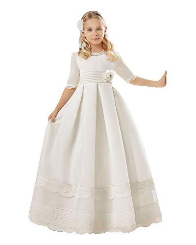 (Graceprom Girls Lovely Half Sleeves First Communion Dresses Lace Appliques Flower Girl Dresses)