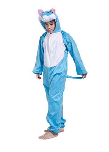 Adult Sized Animal Costumes Unisex Pajamas Fancy Dress Outfit Cosplay Onesies (Blue Cat)