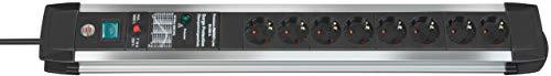 Brennenstuhl Premium-Protect-Line regleta enchufes con 8 tomas de corriente y protección sobretensión, cable de 3 m, interruptor, protección hasta 60.000 A, fabricado en alemania, plateado/negro
