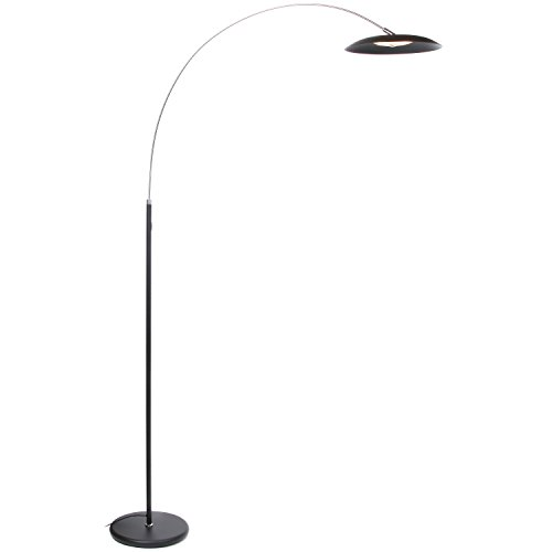 Brightech Atlas LED Arc Floor Lamp - Dimmable Contemporary Modern Curved Lamp - Tall Pole Standing Industrial Lamp with Ambient Lighting for Living Room, Bedroom, Office, Dorm, Jet Black