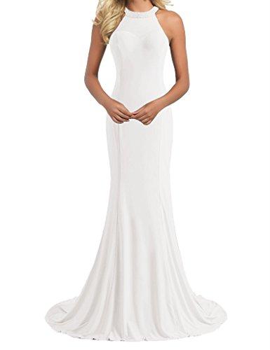 Perles Longues Robes De Soirée Robe De Bal De L'ivoire Licol Sirène Des Femmes Hsd