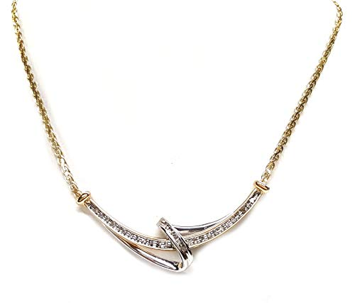 Diamond Necklace with 50pts t.w. of Round & Baguettes in 14kt.2tone - Baguette Tw