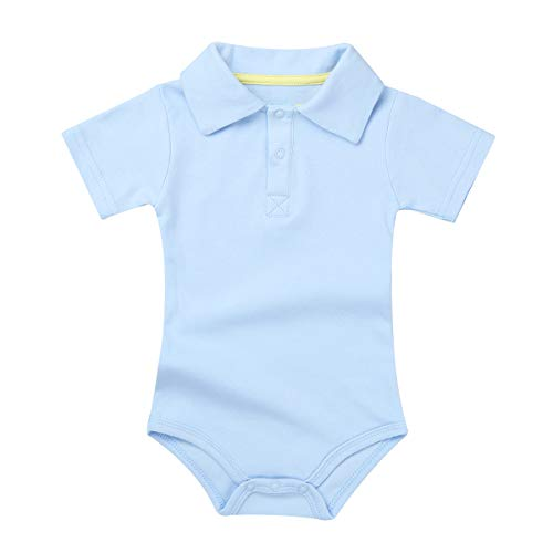 CHICTRY Baby Boys' Turn-Down Collared Short Sleeve Cotton Bodysuit Casual Summer Romper Clothes Sky Blue 6-9 - Blue Romper Collared