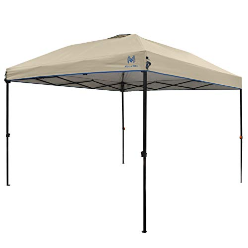 MOLA NOA 10ft x 10ft Instant Set Up Canopy with Wheeled Carry Bag,Straight Wall Gazebo (Tan)