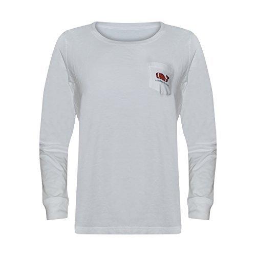 s Long Sleeve Graphic Pocket T-Shirt Cotton (Medium, Touchdown White) ()