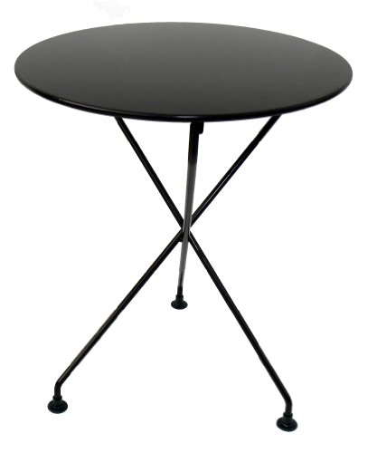 Mobel Designhaus French Café Bistro 3-leg Folding Bistro Table, Jet Black Frame, 24″ Round Metal Top x 29″ Height