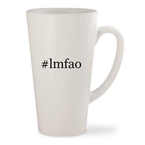 #lmfao - White Hashtag 17oz Ceramic Latte Mug (Lmfao Robot Head Costume)