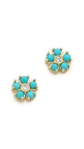 Jennifer Meyer Jewelry Women's Turquoise Flower Diamond Stud Earrings, Gold/Turquoise, One Size ()