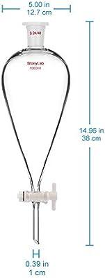 StonyLab 1000 ml Embudo Separador Separatory Funnel de Pared Pesada de Vidrio de Borosilicato con Juntas 24//40 y Tap/ón PTFE 1 litro 1L