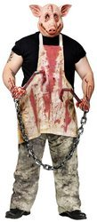 Butcher Pig Costume Party Fancy Dress Outfit Bloody Apron Mask Halloween Men Medium: Chest Upto 42 by (Male Halloween Outfits)