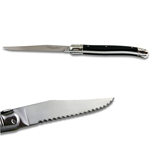 Laguiole steak knives ABS luxury black with micro-serrated blade direct from France by Laguiole Actiforge (Image #2)