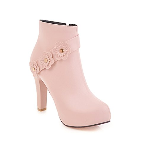 Round Tube Waterproof Platform Booties Heel Thick with Boots High Thick New Boots Naked Head Pink Women's Boots Martin Bottom Style Short Tqw8TS6f