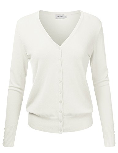 JJ Perfection Women's V-Neck Button Down Long Sleeve Knit Cardigan Sweater Ivory L