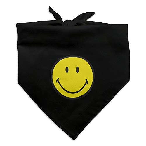 Graphics and More Smiley Smile Happy Yellow Face Dog Pet Bandana - Black