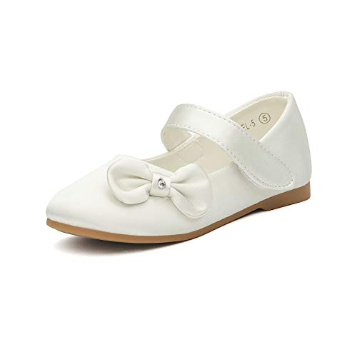 DREAM PAIRS Angel-5 Adorable Mary Jane Side Bow Buckle Strap Ballerina Flat (Toddler/Little Girl) New Ivory Satin Size 9
