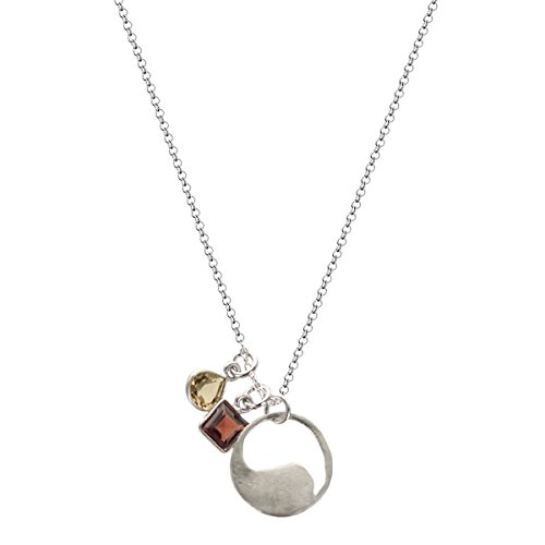 b.u. Quiet Courage Necklace Gemstone Sterling Silver Charm Necklace 16-18