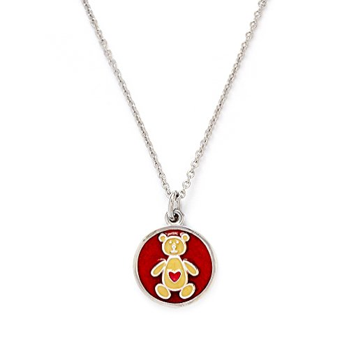 Girls Silver Rhodium Plated Wishes Bear Pendant Expandable (Avery Brass Pendant)