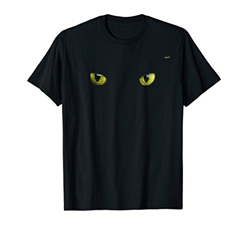 Cool Halloween cat face/eyes yellow on black shirt]()