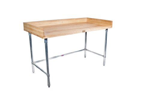 "John Boos DSB07 Maple Wood Top Stallion Work Table, 4"" Coved Riser Rear and Sides, 1-3/4"" Thick, Stainless Steel Legs, Adjustable Bracing, 60"" Length x 30"" Width"