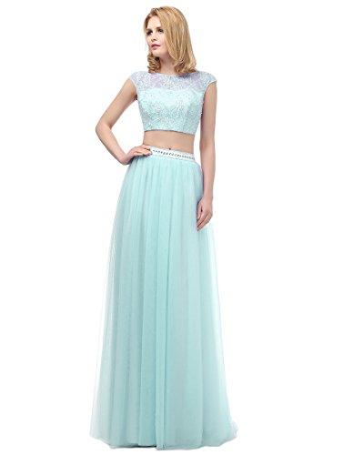 Long Two Bodice Beaded Dresses Aqua Piece Callmelady Waist Appliqued With Prom amp; Eqn1wRBU