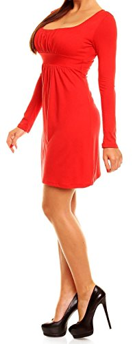 Glamour Empire. De Las Mujeres Jersey Vestir. Imperio Cintura Cuadrado Cuello Largo Manga. 931 Rojo