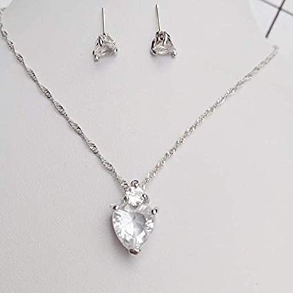 Womens Elegant Necklace Earrings Lady Jewellery Crystal Pendant for Girls Decoration