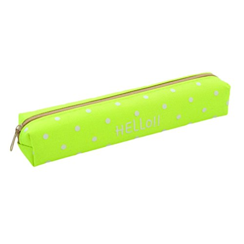 - Gbell Pen Pencil Case Canvas Bag For Girls - Cosmetic Makeup Pouch Coin Purse Popular -Students School Stationery Suppliers Gift Bags (Green)