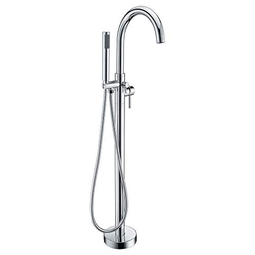 2-Handle Freestanding Clawfoot Bathtub Filler Faucet with Hand Shower in Polished Chrome | Modern Design Floor Mount Handheld Sprayer and Valve | Kros FS-AZ0025CH by ANZZI