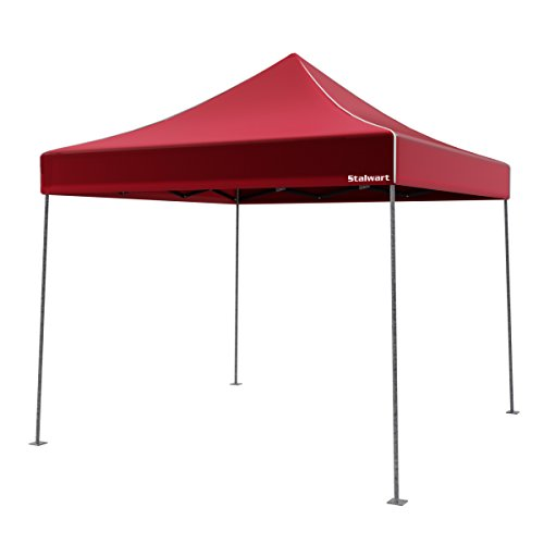 Stalwart Canopy Tent Outdoor Party Shade, Instant Set Up and Easy Storage/Portable Carry Bag, Water Resistant Spacious Summer Cover 10x10 (Red)