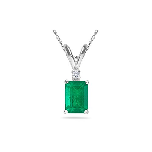 - 0.02 Cts Diamond & 1.10-1.93 Cts of 8x6 mm AA Emerald Cut Natural Emerald Pendant in 14K White Gold