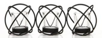 Hosley's Modern Art Hand Made By Artisans 14-Inch Long Black Iron Candleholder with Clear Glass Votive cups, Set of 3 with Tea Lights O9 (Glass Candle Black)